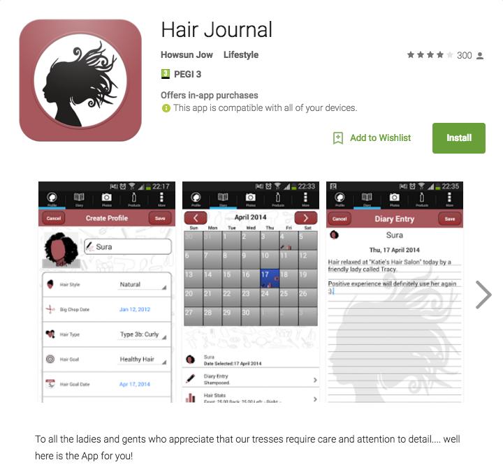 Hair Journal app